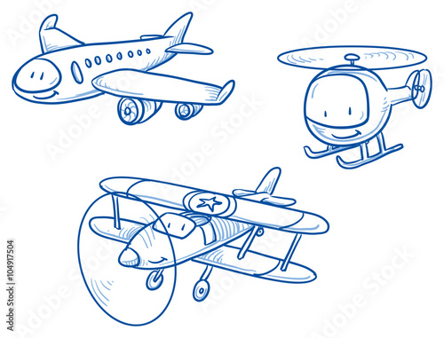 Cute Set Of Aircraft Airplane Helicopter Biplane Hand Drawn