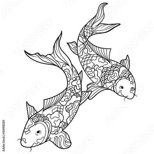 Koi carp fish coloring book for adults vector – kaufen Sie ...
