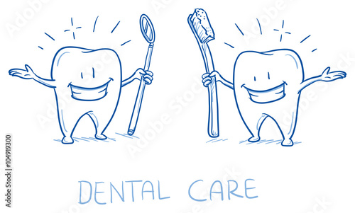 Cute happy cartoon tooth shining white with toothbrush and mirror ...