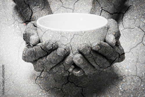 Double exposure hunger begging hands and dry soil Fototapeta