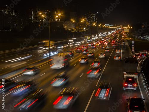 Fototapety, obrazy: night traffic jam