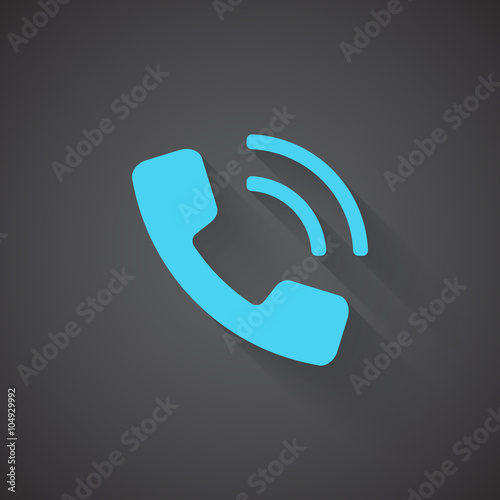 Flat Phone web app icon on dark background - Buy this stock vector