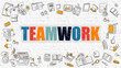 Teamwork Concept. Modern Line Style Illustration. Multicolor Teamwork Drawn on White Brick Wall. Doodle Icons. Doodle Design Style of Teamwork Concept.