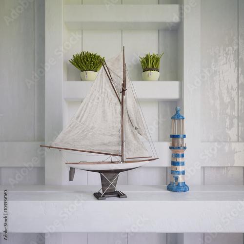 Fotografie, Obraz  Maritime Dekoration an einer alten Holzwand.