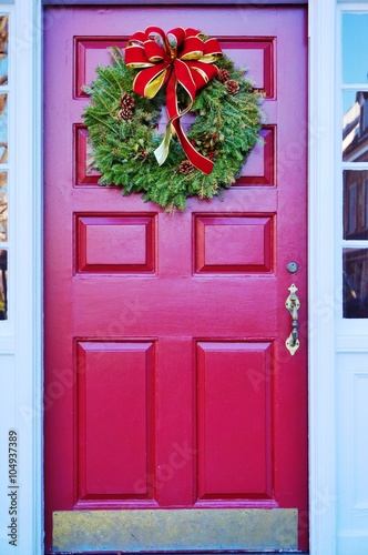 Christmas Holiday Pine Wreath With A Red Bow On A Red Door Buy