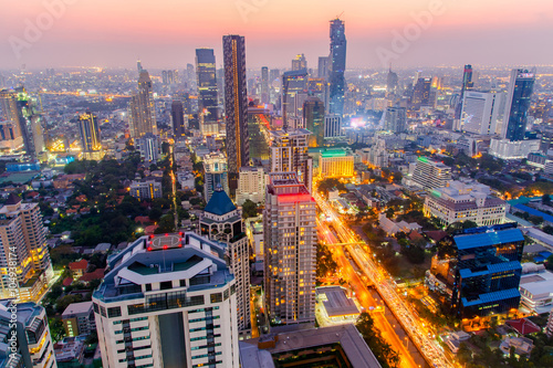 Bangkok city at colorful nightlife, This is a largest city in Southeast Asia and this is shopping center Canvas Print