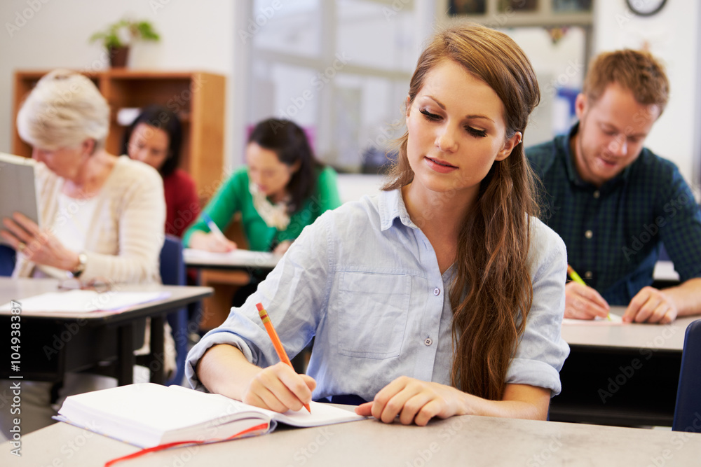 Fototapeta Young woman studying at an adult education class