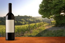Wine Bottle On Vineyards