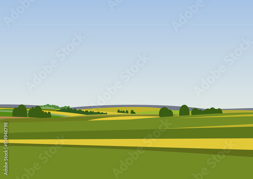 Stickers pour porte Bleu ciel Green landscape with yellow fields.