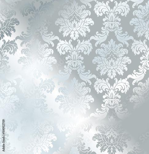 Vector Baroque Seamless Damask Silver Texture Luxury Gray