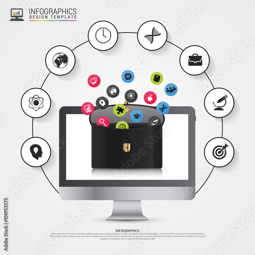 Photo  Infographic design template. Briefcase with icons. Vector
