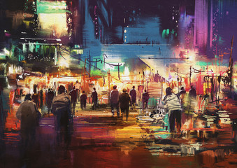 Fototapeta Industrialny painting of shopping street city with colorful nightlife