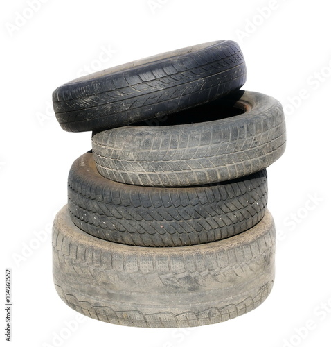 Old tires stacked, isolated on white background © dule964