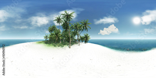 Fotografia  panorama 360, sea, tropical island, palm trees, sun