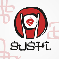 Fototapeta Do sushi baru Vector logo design. Sushi, fish, japanese, restaurant.