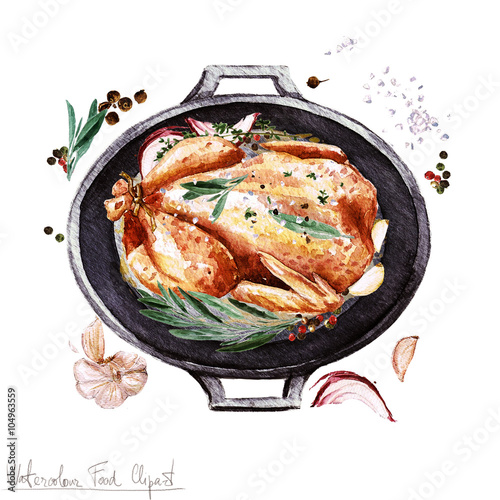 Watercolor Food Clipart Chicken In A Cooking Pot Buy This Stock