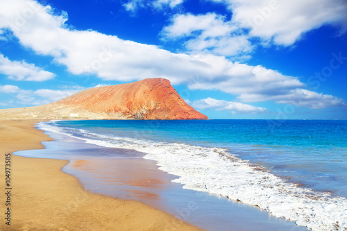 Poster Canary Islands La Tejita beach and El Medano mountain, Tenerife, Canary islands