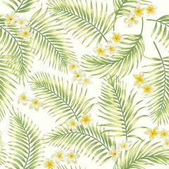 fototapeta wzór egzotycznych tropikalnych liści