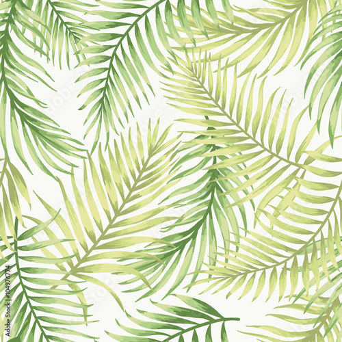 Wall Murals Tropical Leaves Seamless exotic pattern with tropical leaves.
