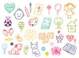 Funny children drawing vector doodle set.