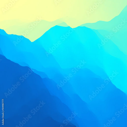 Spoed Foto op Canvas Turkoois Mountain Landscape. Mountainous Terrain. Mountain Design. Vector Silhouettes Of Mountains Backgrounds. Sunset. Can Be Used For Banner, Flyer, Book Cover, Poster, Web Banners.