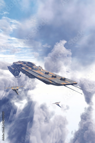 Photo Spaceship cruiser and fighters over clouds
