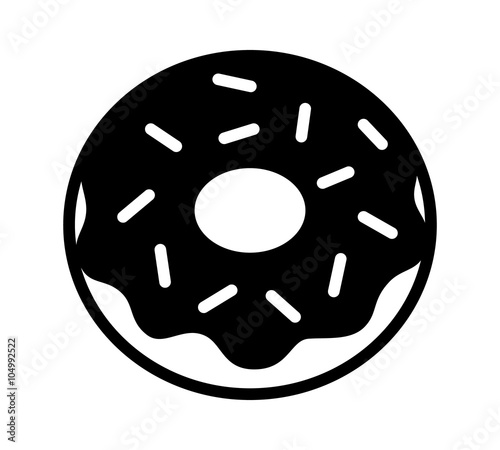 Photo  Donut / doughnut with chocolate frosting and sprinkles flat icon for food apps a