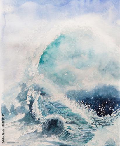 Foto auf Gartenposter Blau Jeans waves illustration watercolor