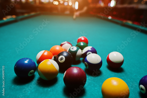 Fotografie, Obraz  Billiard balls in a pool table after shoot