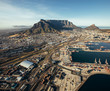 canvas print picture Aerial view of cape town harbor