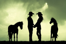 Couple Of Cowboys And Horses