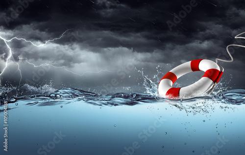 Vászonkép Sos - Lifebelt In The Storm - Help Concept
