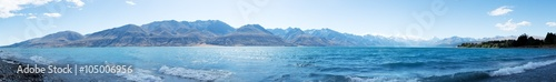 Foto op Aluminium Blauw landscape of lake in summer day in new zealand