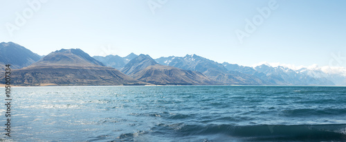 Spoed Foto op Canvas Wit landscape of lake in summer day in new zealand