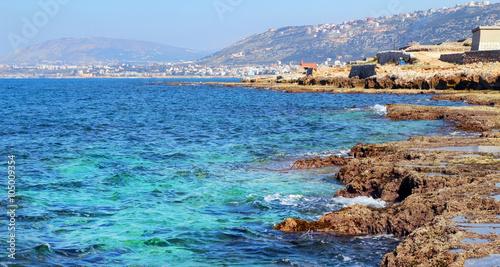 The Mediterranean sea coast in Lebanon