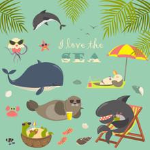 Vector Set Of Cute Sea Animals...
