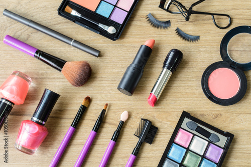 Fotografie, Obraz  make up with cosmetics and brushes
