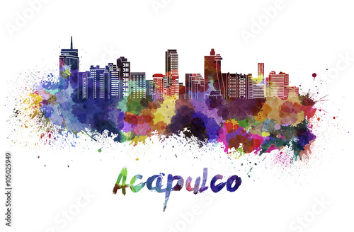 Fotografie, Obraz  Acapulco skyline in watercolor