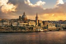 Valletta Skyline Waterfront At Sunset. Malta