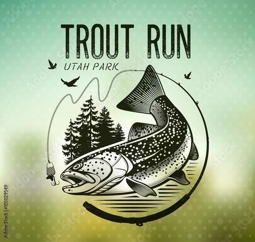 Fotografia Vintage trout fishing emblems