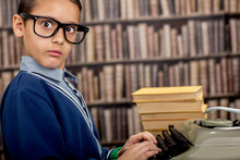 Boy With The Typewriter. Retr...