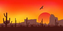 Sunset With Saguaro Cactus. Desert. Vector.