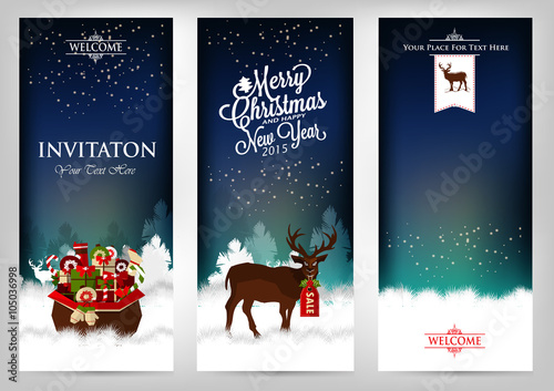 merry christmas and happy new year invitation cards with deer a