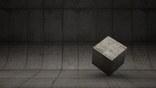 Abstract Backdrop Of Concrete Pattern With The Cement Cube