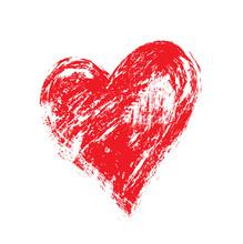 Grunge Heart, Valentine Day, Illustration Vintage Design Element