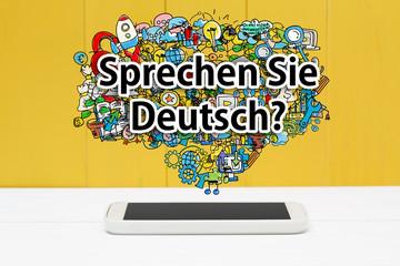 FototapetaSprechen Sie Deutsch concept with smartphone