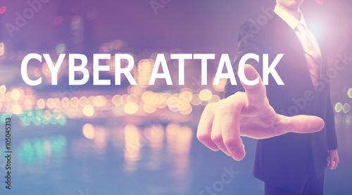 Fotografie, Obraz  Cyber Attack concept with businessman