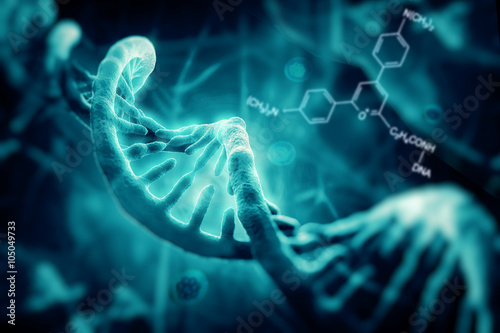 Fotografía  3d render of dna structure, abstract background