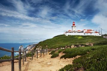 Fototapeta na wymiar Lighthouse and Atlantic ocean at cabo da Roca, Portugal
