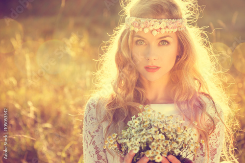 Fotografering  Boho Styled Bride on Nature Background